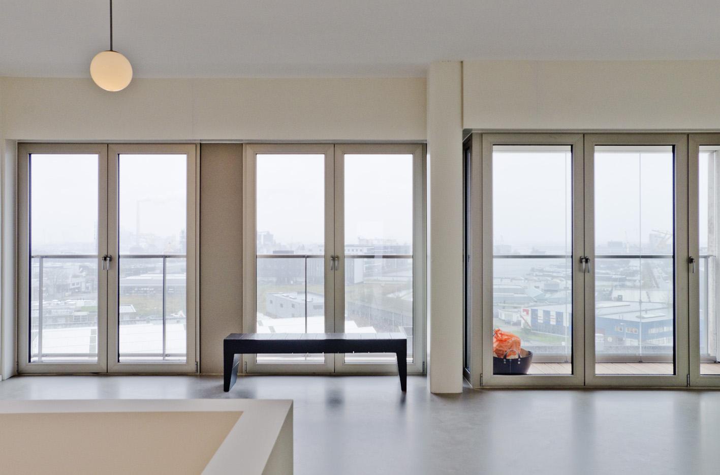 Atelier PUUUR BLOK interieur penthouse geluidbelaste gevel BLOK0 Houthaven Amsterdam CO zelfbouw