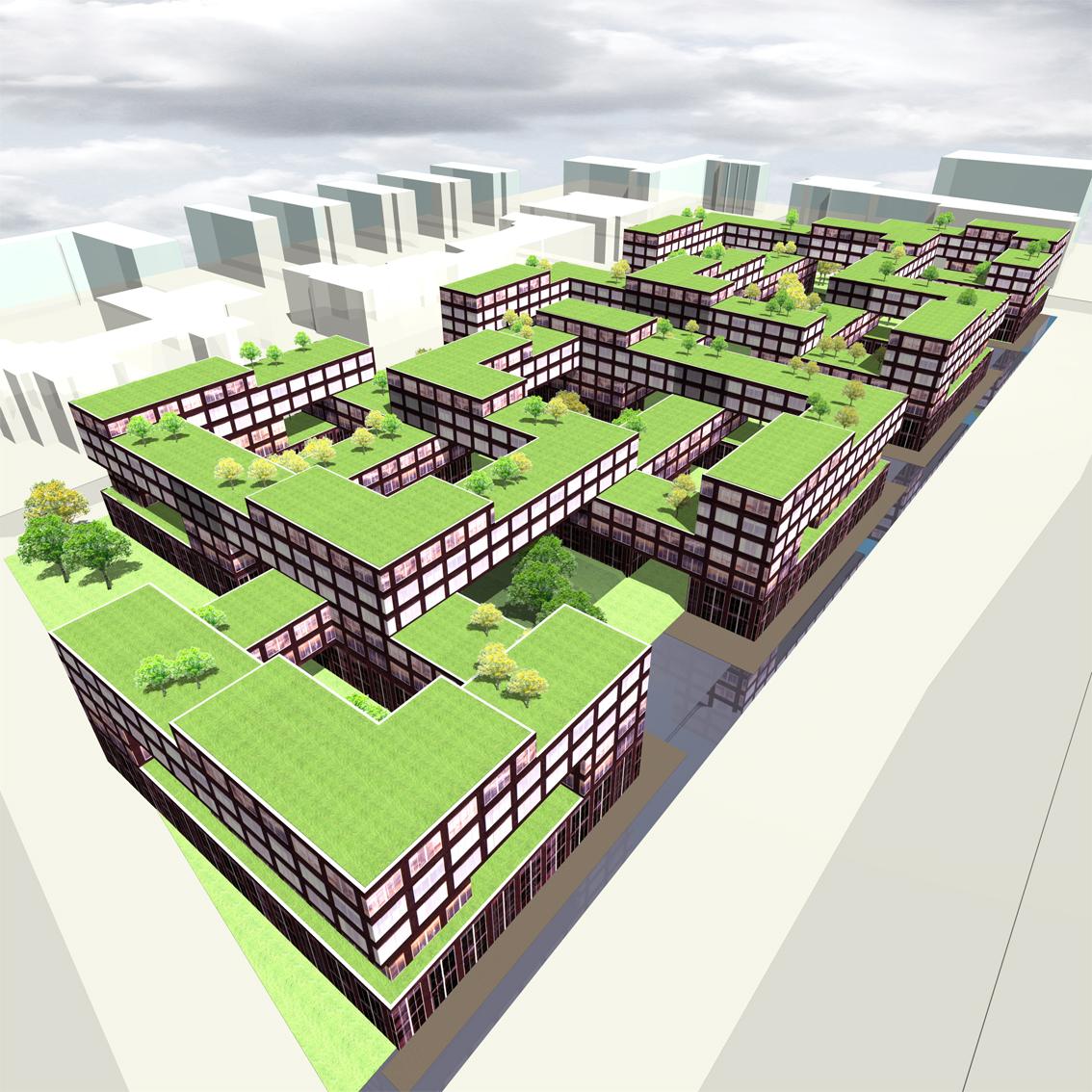 Lelylaan atelier PUUUR cultureel geinspireerd woningbouw vogelvlucht BNA Jonge Architecten Prijsvraag