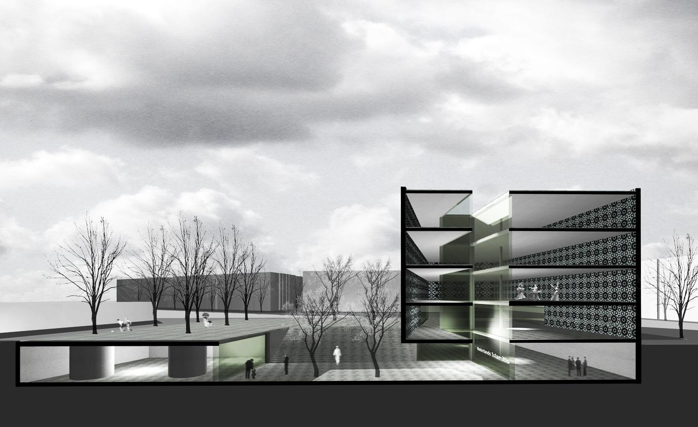 Nederlands Islamitisch Cultureel Instituut Amsterdam mr visserplein Atelier PUUUR prix de rome doorsnede