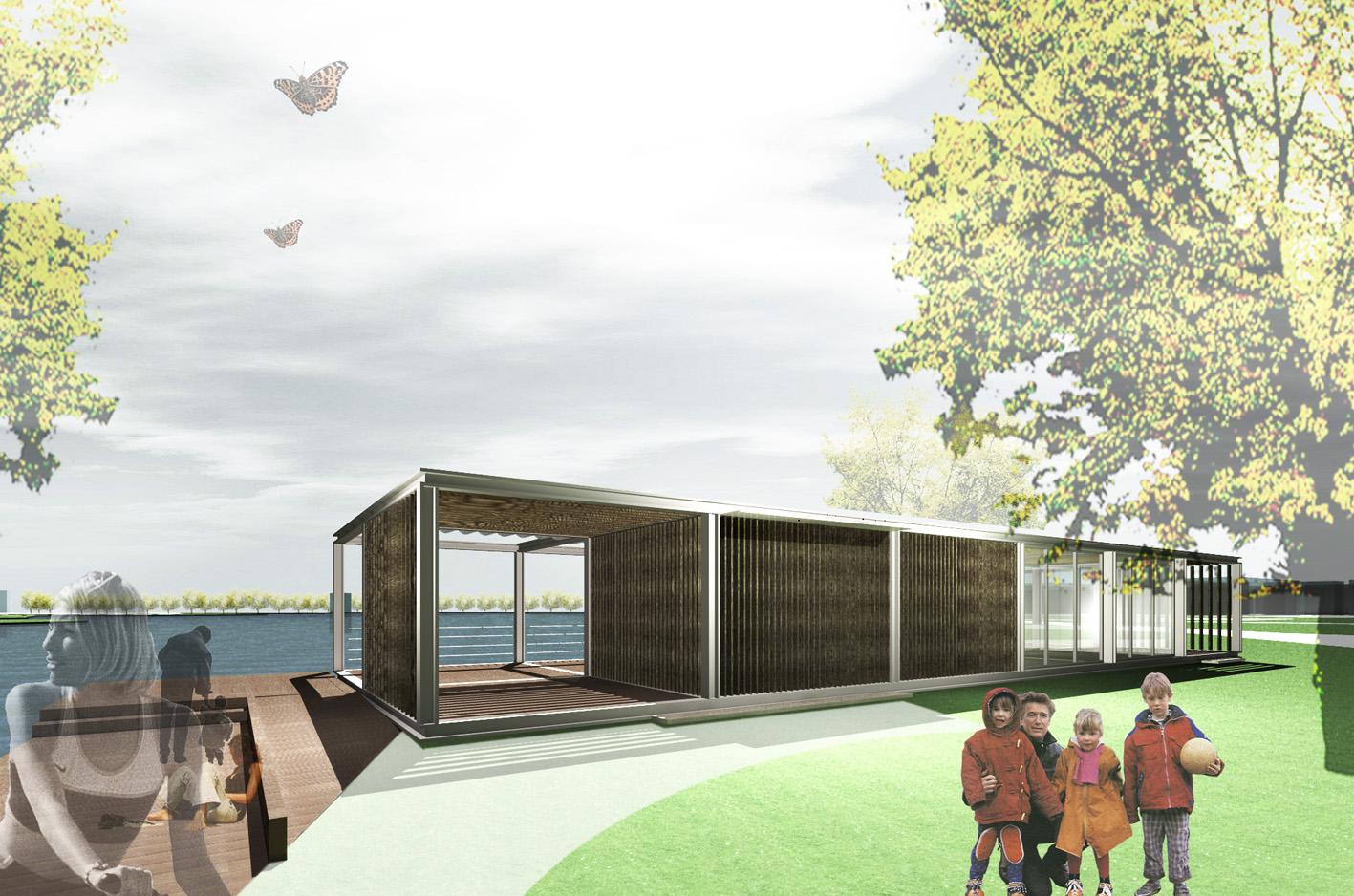 Theehuis Paviljoen 3D parkzijde Schellingwouderbreek plas Amsterdam Noord