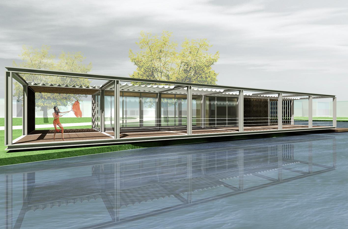Theehuis Paviljoen 3D waterzijde Schellingwouderbreek plas Amsterdam Noord