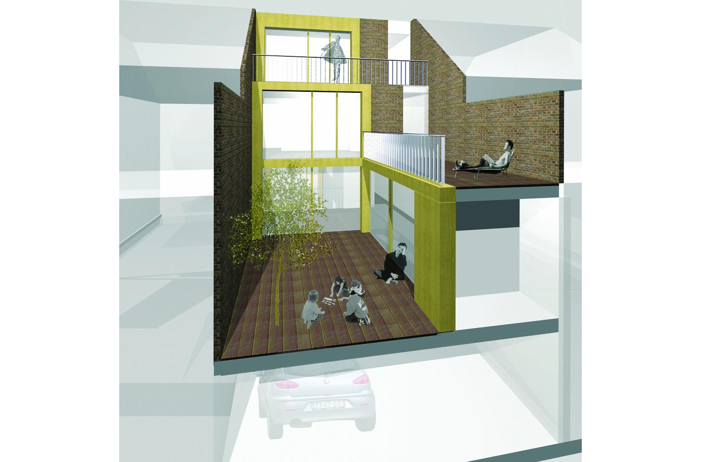 patio3 atelier PUUUR Leiden nieuw leyden particulier opdrachtgeverschap PO zelfbouw halfverdiept parkeren