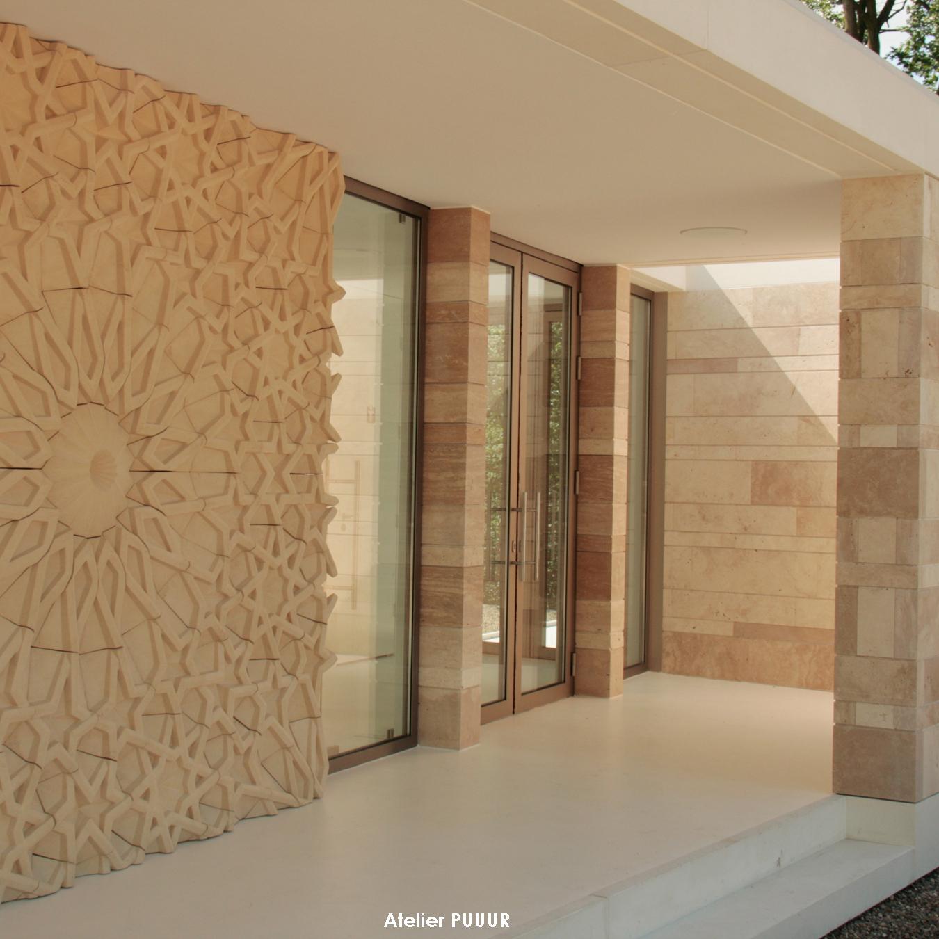 Islamic graveyard pavilion front facade entrance Atelier PUUUR